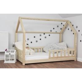 BFK Dětská postel DOMEČEK 200x90cm masiv přirodní+matrace+rošt