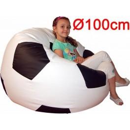 "AGA sedací vak 100cm XXL ""fotbalový míč"" (objem 450l) EKO KŮŽE bílo-černá"